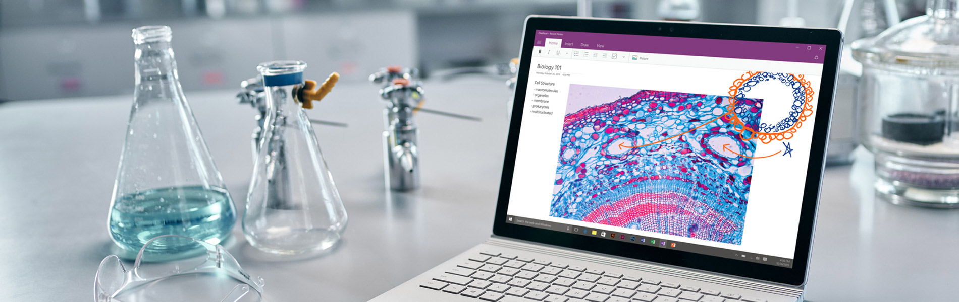 A laptop on a science desk showing biology cells with chemistry vials at the side.