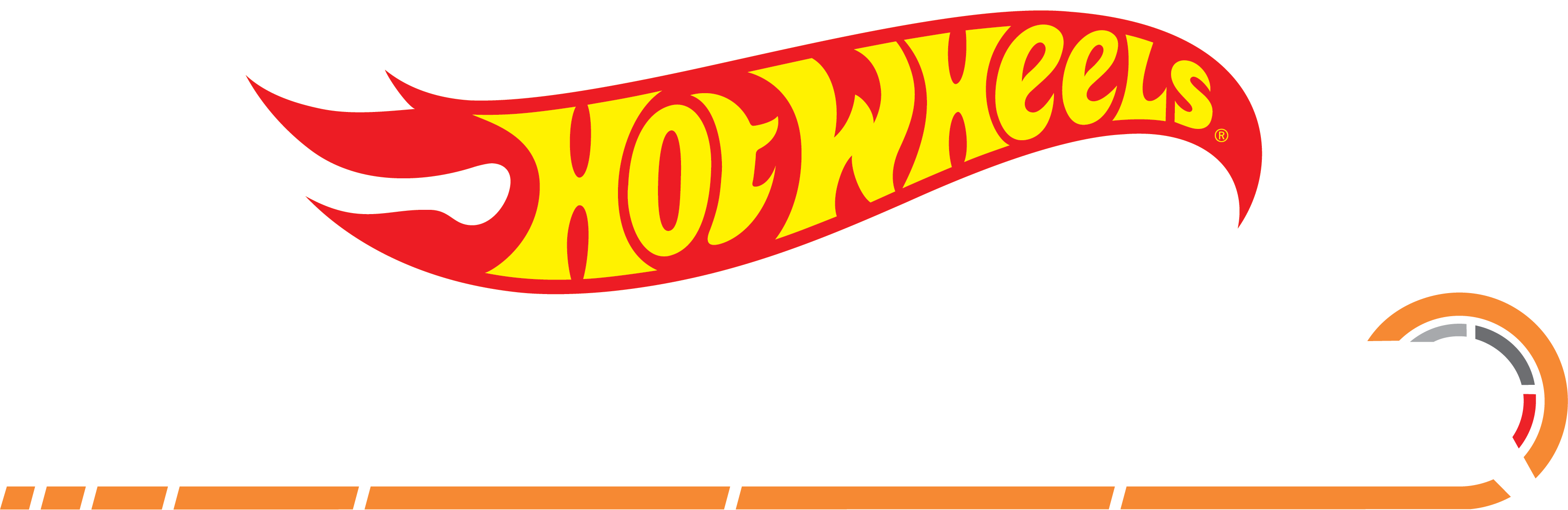 The Hot Wheels® logo above text 'Speedometry' represented with a rev meter