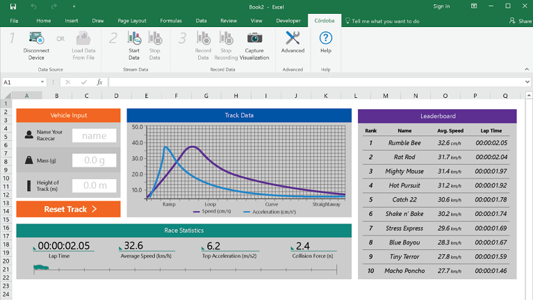 The Hot Wheels® Sensorized track Excel workbook
