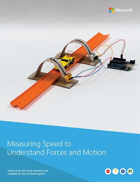 A completed Lightgate to measure the speed and force of moving objects. Project built from various materials such as wires, Hot Wheels® Track and cars, some cardboard, and glue.