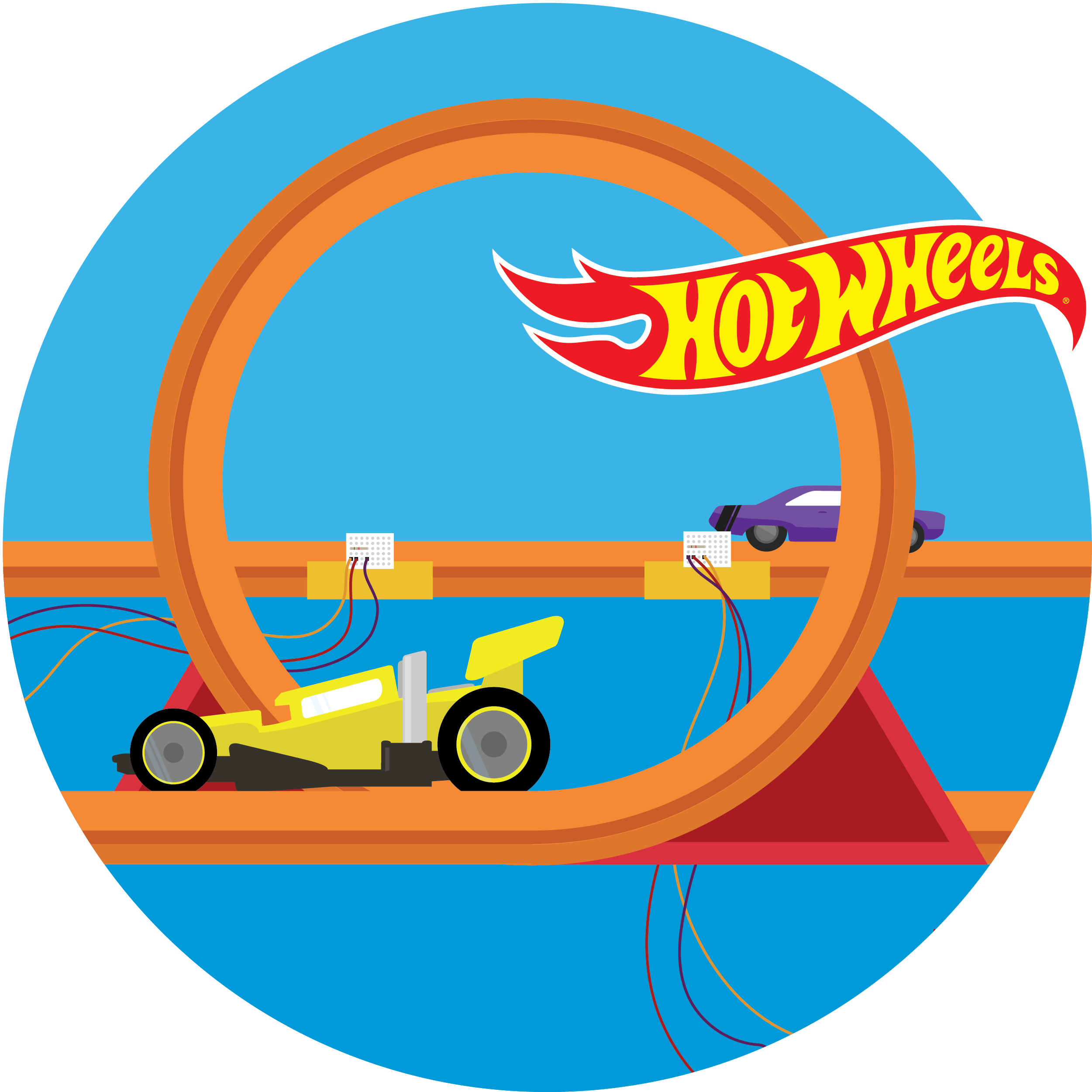 Circular illustration of a light gate being used along with Hot Wheels® track and cars.