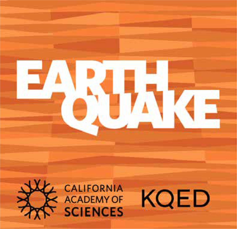 Earthquake lesson logo with inset logos from California Academy of Sciences and KQED
