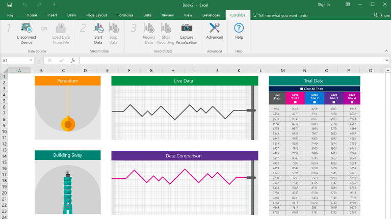 The excel workbook for the Seismograph lesson