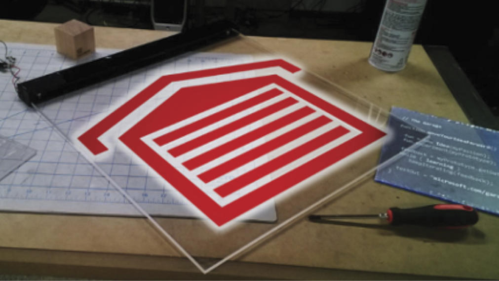 Image of the Microsoft Garage logo being made into a sign