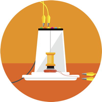 Image of a seismograph with a circular background