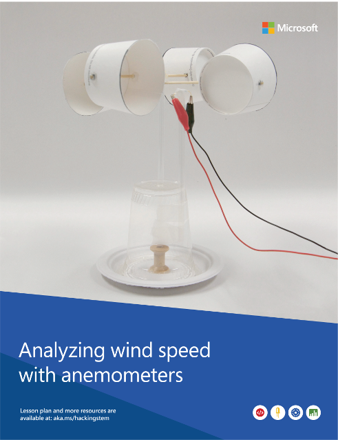 A completed anemometer project built from various materials such as a water cup, a paper plate and cardboard.