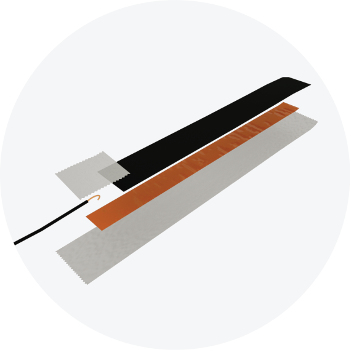A diagram of a pressure sensor, depicting the layers of materials required to create it.