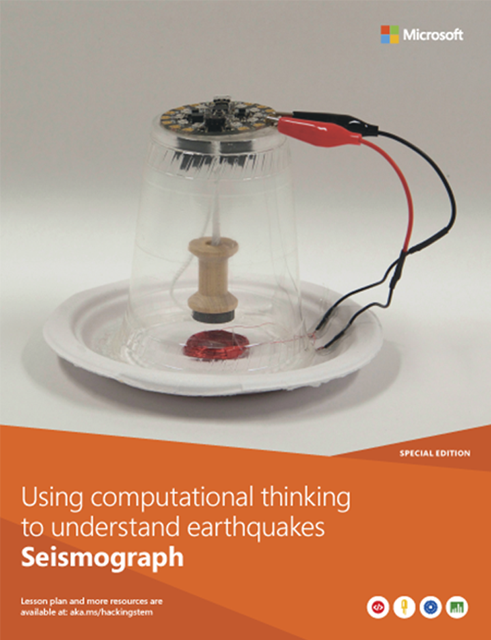 A completed seismograph project built from various materials such as a plastic cup, a paper plate and an Arduino.