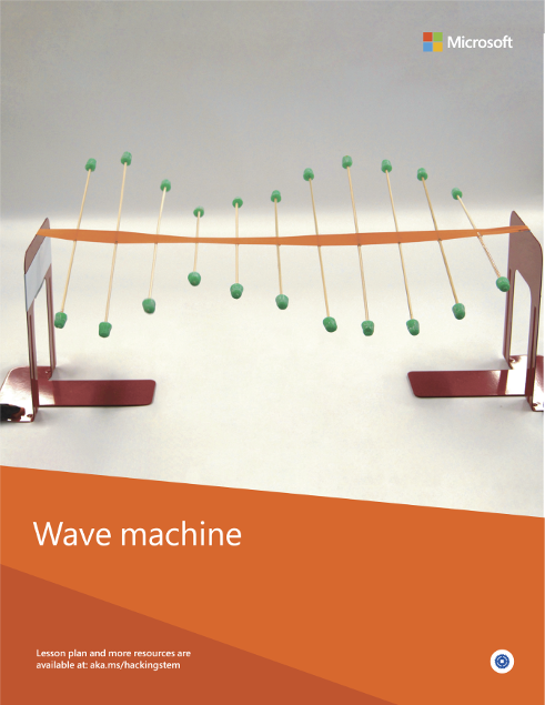 A completed wave machine project built from various materials such as wooden skewers, gumdrops and ribbon.