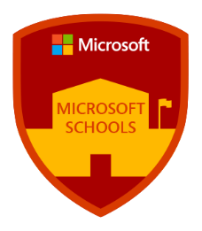 Microsoft schools red badge with a yellow school outline in the middle, with the Microsoft logo at the top.