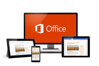 Graphically showing Microsoft Office 365 displayed on notebook, tablet and mobile.