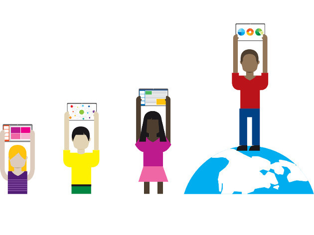 An illustrated picture of four people holding tablets above their head with different applications on the screen, one person on the right is standing on a world globe.