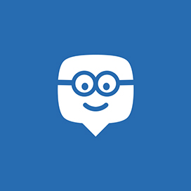 Blue icon with chat box smiley face.