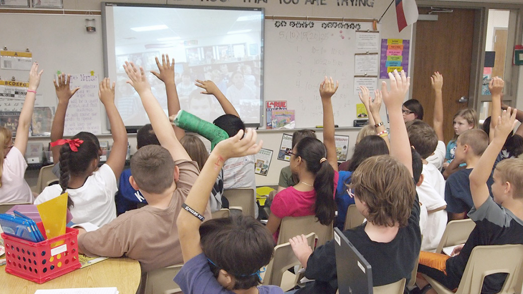 Classroom with students using Skype