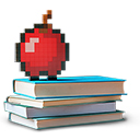 Minecraft apple sitting on top of three stacked books.