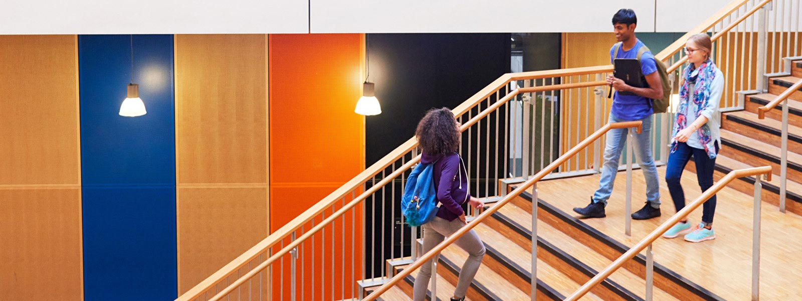 Photograph of students walking on stairs in school.