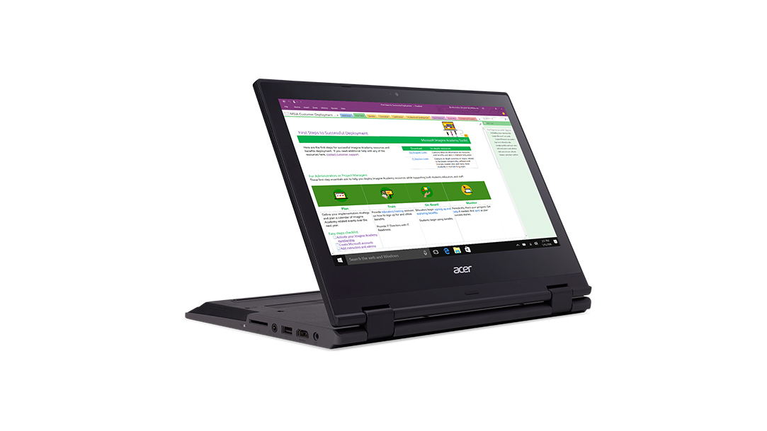 A convertible laptop in display mode showing Microsoft Onenote in use.