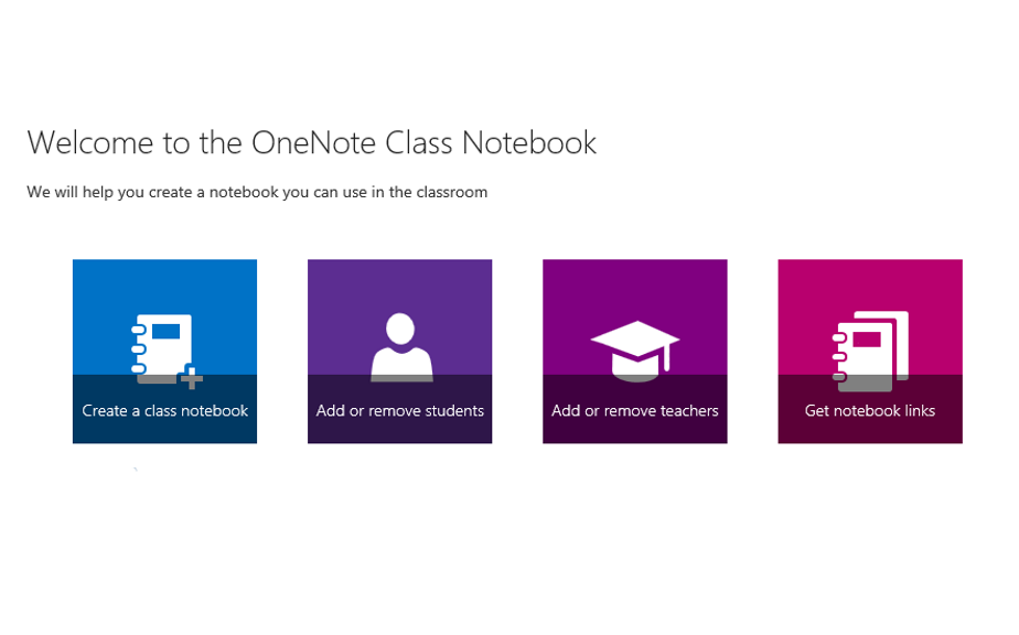 image of the class notebook setup page