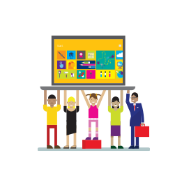 Illustration of five people holding one large laptop up over their head