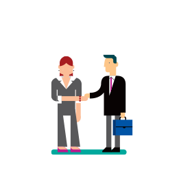 Illustration of a man with a briefcase shaking hands with a woman in a grey suit