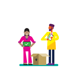 Illustration of a man and a woman unpacking a brown box