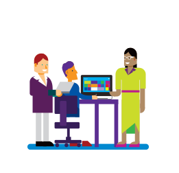 Illustration of one adult sitting and two standing around a computer.