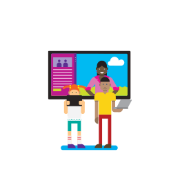 Illustration of two people standing in front of a large screen holding laptops in front of them.