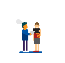 Illustration of two adults standing with one man holding a laptop and a woman holding a tablet.