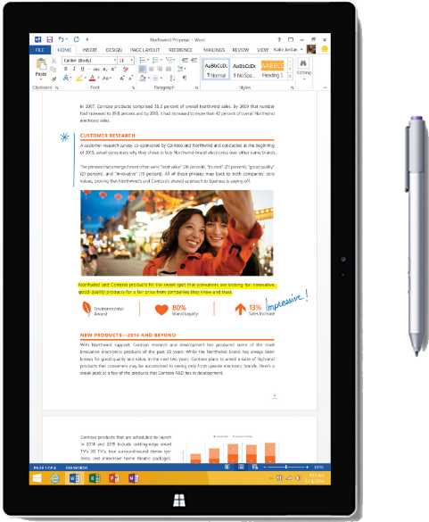 A tablet with a microsoft word document loaded on it.