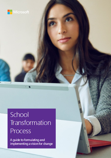 School transformation poster wth six purple hexagons linked in a circle